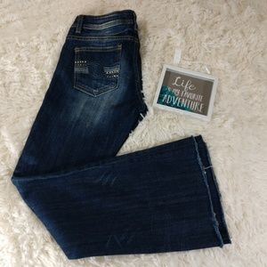 Vigoss Distressed Denim Flare Jeans size 1…
